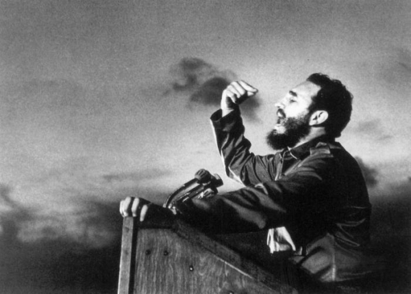 Fidel delivers a speech circa 1960.